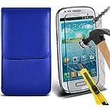 Fone-Case ( Blue ) Samsung galaxy S3 Mini étui Cover Case Brand New Luxury Cuir Side Faux PU Vertical Pull Tab Pouch Housse de la peau avec Protecteurs d'écran en verre trempé Crystal Clear LCD
