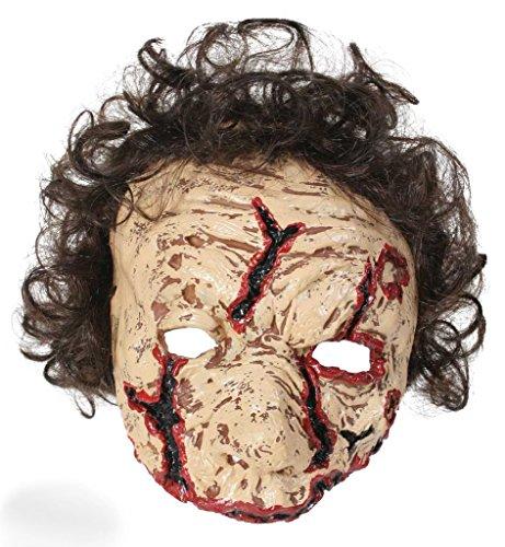 Günstige Ideen Beängstigend Halloween Kostüm (Halbmaske Zombie mit Haaren, für Erwachsene, Unisex, Halloween, Mottoparty, Unterwelt, Gruselmaske, Kostümzubehör, Gruselparty, Themenabend, Horrormaske, Gesichtsmaske, Narben,)