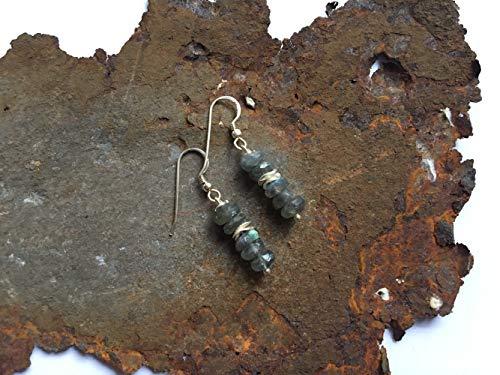 Labradorit Ohrringe mit 925er Silberelementen