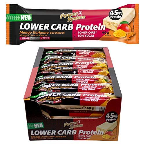 Power System LOW er CARB Protein Riegel mit 45% Eiweiss - Bar 28 x 40g (Mango-Kurkuma)
