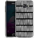 Samsung Galaxy A3 (2016) Housse Étui Protection Coque Lignes Bandes Noir et blanc