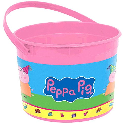 Amscan Peppa Pig Birthday Party Favor Container, Pink, 4 1/2 x 6 1/4? by Amscan (Party Pig Peppa Favors)