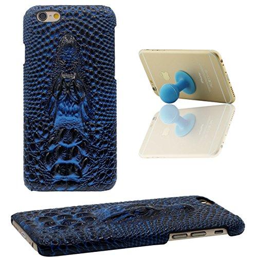 Coque Étui de Protection pour iPhone 7 Léger Mince Dur Case Anti choc pour Apple iPhone 7 4.7 inch 3D Crocodile Marron avec 1 Silicone Kickstand bleu