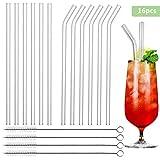 TOODA Glas strohhalme,Wiederverwendbares transparentes Glasstrohhalm,mit 4 Reinigungsbürsten, Geeignet für Smoothies/Milchshakes/Cocktails(6 Gerade Strohhalm & 6 Gebogen Strohhalm)