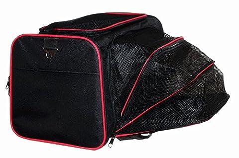 Der&Dies Hunde Katze Tragetasche Transporttasche Transportbox Umhängetasche Hundetasche Katzentasche mit dem gepolsterte Bode und streckbare Plätze für kleine Hunde (wie Bolonka, Chihuahua, Cavalierchen) und kleine Katze oder Mäuse Nager. Transporttasche auch als Schlaf- oder Sitzplatz auf Reisen benutzen werden kann.(M:46X28X28CM)(Schwarz)