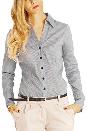 Bestyledberlin Damen Basic Blusen, Gestreifte taillierte Stretch Damenbluse, Elegante Langarm Hemden V-Ausschnitt t42z 38/M schwarz (- Knopf-manschette Stretch-blazer)