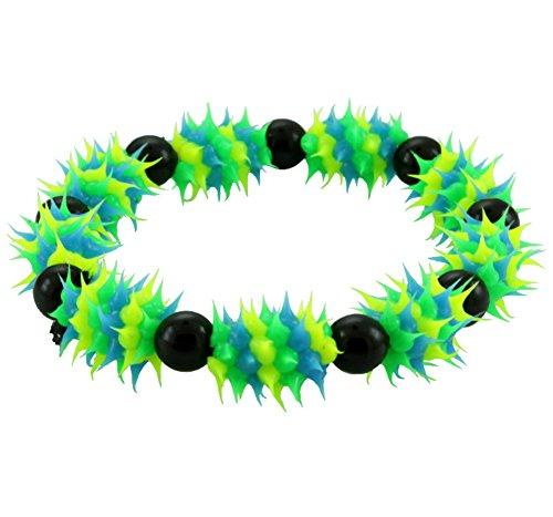 Chic-Net Stachel Silikonarmbänder blau grün schwarz Armbänder Armband Silikon Silikonarmband Schmuck Stachelarmband Damen Herren neon knallig Rave Techno