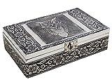 Organizador de la joyería cajas de joyas de almacenaje antiguos Artesanal de madera con búho en relieve la textura del metal - Store Indya - amazon.es