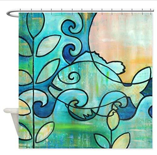 SFQAZW Sun Fish Beach Water Blue Green - Decorativo Tessuto per Tende da Doccia Effetto 3D Eco-Friendly Bagno per La Casa (W) 200x(H) 180cm
