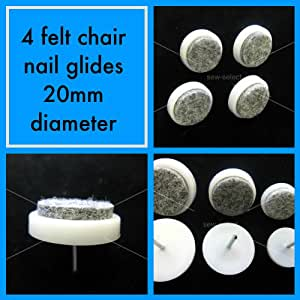 Four 20mm diameter felt & nylon nail on chair leg feet glides anti scratch wood floor potection by Sew-select