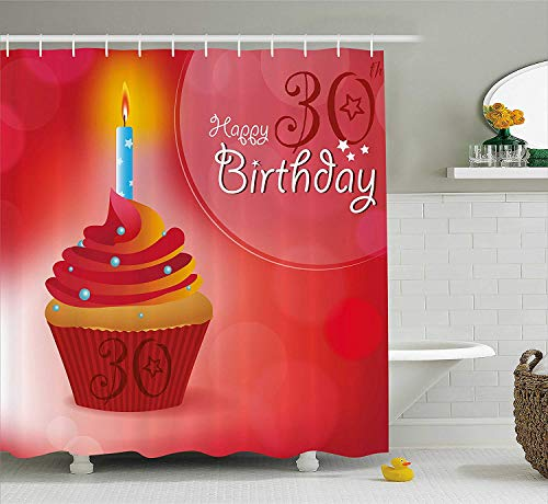 MSGDF 30th Birthday Shower Curtain, Cute Cupcake with Candlestick Stars Bokeh Backdrop Romantic Design, Fabric Bathroom Decor Set with Hooks, 60 X 72inch, Red Orange and Blue