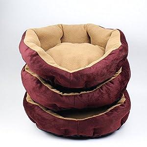 Lit de Chien - BADALINK Pet Chien Chiot Chat Lit Maison Nid Tapis en Cachemire Coton PP Souple Détachable Rouge Vineux 37x37x9cm