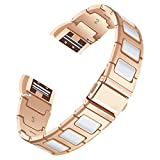 Per Fitbit Charge 2 strap, Angolf Fitbit Charge 2 in ceramica in acciaio INOX splicing design smart Watch Band regolabile strap bracciale cinturino da polso di ricambio per Fitbit Charge 2 fitness Accessories, Rose Gold/White