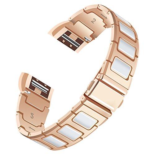 Für Fitbit Charge 2 Armband, AISPORTS Fitbit Charge 2 Keramik Edelstahl Spleißen Design Smart Watch Ersatzband Armband Handschlaufe für Fitbit Charge 2 Fitness Zubehör, Rose Gold / Weiß -