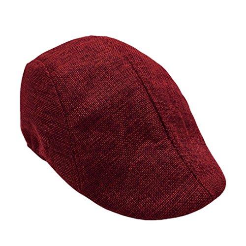 Casquette Plate Homme Vintage,Overdose Été Casquette Chapeaux Coton Béret Cap Mode Accessoires (Rouge)