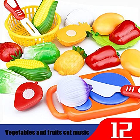 Toy Food, SHOBDW 12PCS Cutting Fruit Vegetable Pretend Play Children