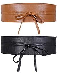 JasGood 2 Stück Damen Breiter Obi Gürtel Taillengürtel Taille Band für Damen Mädchen