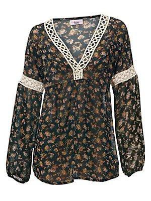 6 Damen Designer Bluse (Linea Tesini Designer-Bluse schwarz-bunt Größe 34)