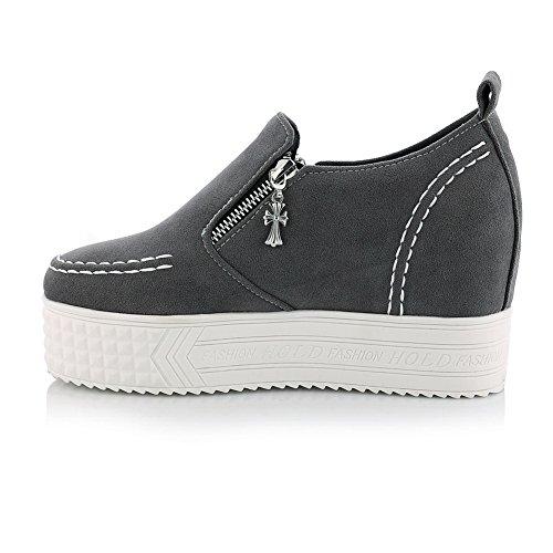 Balamasa pour femme No-heel solide imitation cuir Pumps-shoes Gris