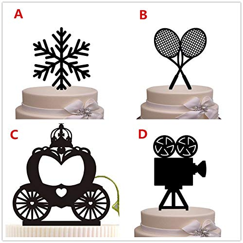PotteLove Unique Black Acrylic Design Snow/Sport/Movies/Royal Carriage Cake Topper for Birthday Wedding Anniversary Cake Decoration