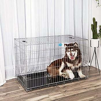 Songmics 2 Portes Cage pour chien pliable et transportable avec Poignées et Plateau argenté 120 x 76 x 81 cm PPD48W