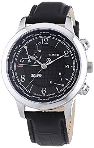 Timex Intelligent Quartz Men's World Time Watch with Black Dial Analogue Display and Black Leather - T2N609