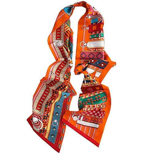 Seide Luxus Streifen (Xingling Damen Seide doppelseitiger Druck schmale Streifen, Haarband Gürtel dekorativer Schal, Luxus-Geschenkbox 192 * 20cm,BLCE-01)
