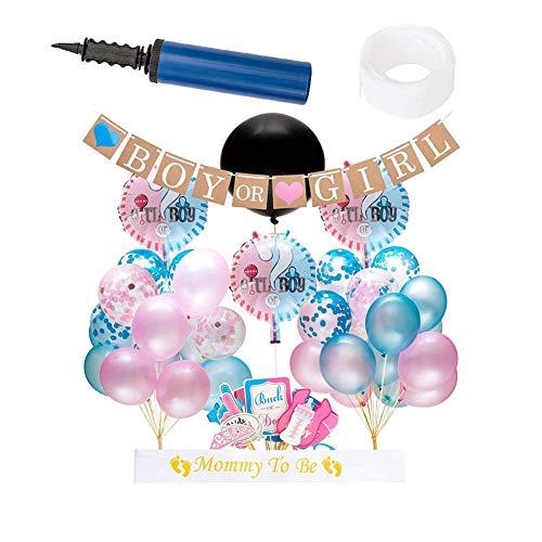 Geschlecht enthüllen Party Supplies Kit und Baby Dusche Konfetti Luftballons Boy oder Girl Banner Photo Booth Requisiten,Ageof1