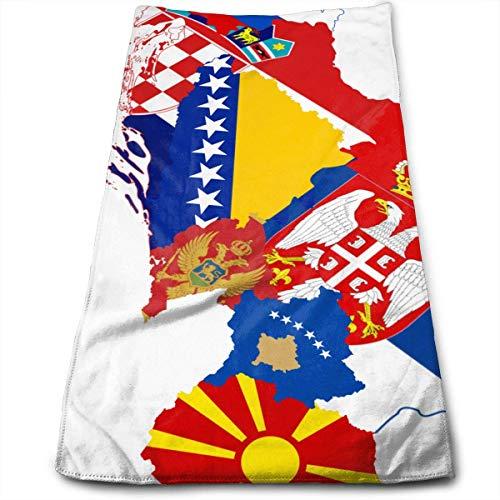 QuGujun Towel Former Yugoslavia Flag Map Premium Soft Polyester Lightweight Hand Towel,Travel Towel,Bath Sheet, 30cm X 70cm- Multipurpose Towels for Bath, Hand, Face, Gym and Spa - Mikrofaser-former