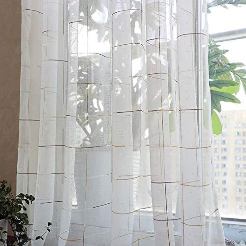 Voile tenda tende occhielli finestra tenda a quadri camera da letto balcone soggiorno colore reticolo tenda decorativa tulle, white, 300 * 270cm