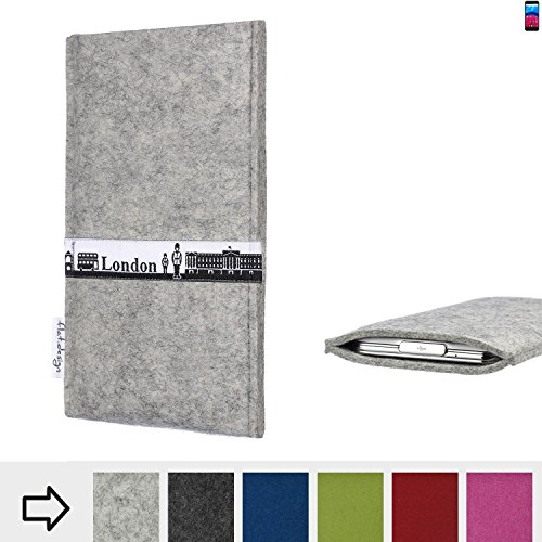 flat.design für Archos Core 60S Schutz Hülle Handy Case Skyline mit Webband London - Maßanfertigung der Schutztasche Handy-Tasche aus 100% Wollfilz (hellgrau) für Archos Core 60S