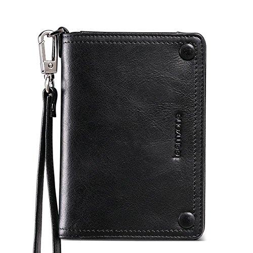 Teemzone Leder Portemonnaie für Herren mit abnemhmenbarer Münzebörse 14,5x10x2,5cm (Schwarz) Schwarz