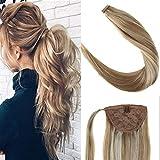 LaaVoo 16 Zoll Ponytail Echthaar Clip in Zopf Goldbraun zu Hellblond Haarverlangerung Pony 100% Echt Haare Remi Naturlich #P12/24 80Gramm/Paket