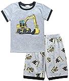 Tarkis Jungen Schlafanzug Feuerwehrauto/Dinosaurier/Bagger Baumwolle Kinder Kurzarm Pyjama 92 98 104 110 116 122, 98 (Herstellergröße: 100), 04 Grau (Bagger)