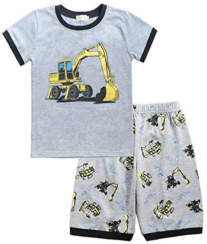 Tarkis Jungen Baumwolle Schlafanzug Kurzarm- Pyjama, 04 Grau (Bagger), Gr.-110 (Herstellergröße: 120) - 2 Stück Kurzarm-pyjama