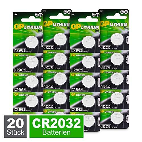 GP CR2032 Lithium Knopfzellen 3V, Knopfbatterien CR 2032 / DL2032, Spannung 3 Volt (20 Stück im 4x 5er Pack, Batterien einzeln entnehmbar)