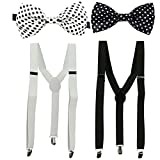 #6: unisex black and white suspender with bow combo for men