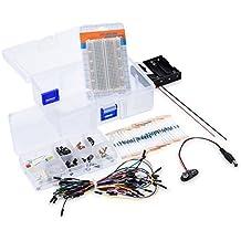Kit electrónico kwmobile 174 componentes electrónicos set placa de pruebas conector eléctrico LEDS condensadores resistencias arduino raspberry pi