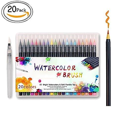 Cofive 20 Couleurs haute qualité Brush Pen Set, réel souple flexible Brush Tip, créer d'effet d'aquarelle - Idéal pour les adultes Livres à colorier Manga BD