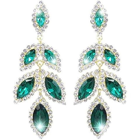 EVER FAITH® Gold-Tone del petalo del fiore Tear Drop ciondola gli orecchini di cristallo verde austriaca - Petalo Ciondola