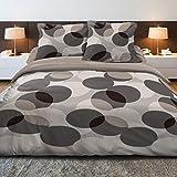 Círculos - SoulBedroom Juego de cama, 100% Algodón (funda de edredón 230x220 cm y 2 fundas de almohada 50x75 cm) / cama de 150 cm (matrimonio)