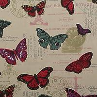 Mariposa Torre Eiffel Script 100% pesado algodón Panamá cortina para niños impreso cojín tela de