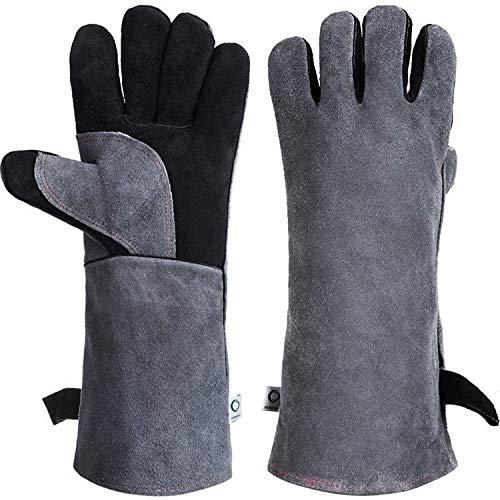 CCBETTER guantes de piel para soldar y barbacoa con manga larga 932°F...