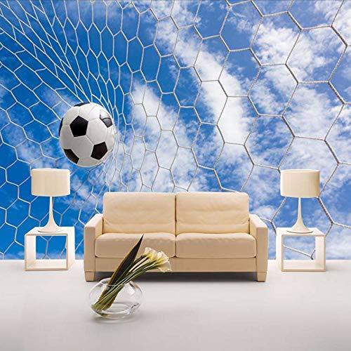 Preisvergleich Produktbild Yologg Personalisierte Anpassung 3D Wandbild Tapete Moderne Blauer Himmel Fußball Kinderzimmer Wohnzimmer Innendekor Fototapete 3D-400X280Cm
