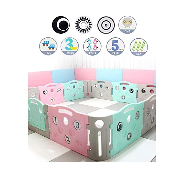 Foldable Baby Fence Plastic Baby Playpen Baby Safety Toddler Fences Indoor Toy Fencing Triple Protection Security Hardening Baby's Playground Suitable For Babies Over 6 Months  ▶ Multi-function: There are cute digital patterns on the bar, which can be used as a stand-alone game fence. The baby can not only play, but also learn and exercise cognitive ability. ▶Safe and secure: Heighten 65cm height, solid fence, prevent baby from turning out, HPDE environmental protection material, rotary switch single open design, prevent baby from opening from inside, safer ▶ Stable: 1cm thick anti-slip rubber pad, increase the friction with the ground, make the fence more firm, and there are card slots between the two plates to ensure that the fence does not shake 5