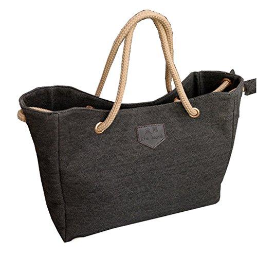 Wewod Einfache Leinwand Handtasche Bettwäsche Schultertasche Schwarz