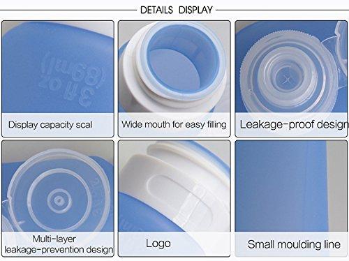 SMING Silikon Reisen Flaschen Set 3.3 Flüssigunzen / 98 ml ohne Auslaufen, BPA-frei, TSA-Airline genehmige auslaufsichere mit Lanyard(4 Pack (multi))