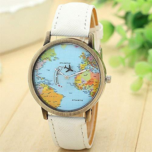 Frauen UhrenNeue Globale Reise Mit Dem Flugzeug Karte Frauen Kleiden Uhr Denim Stoff Band Quarz-Armbanduhr für Geschenk Damen # c, Weiß