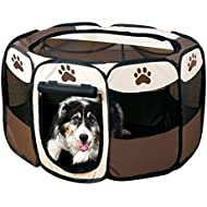 Beautylife77 Pet Fence Dog Kennel Pet Fence Puppy Soft Pet Bed Folding Crate Coffee L