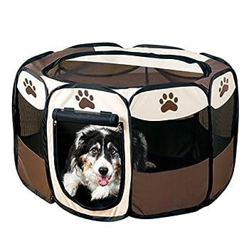 beautylife66 Pet Parc Enclos de Chien Octogonal Cage pour Chiots et Petits Animaux Pliable café L
